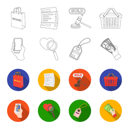 Hand, mobile phone, online store and other equipment. E commerce set collection icons in outline,flat style vector symbol stock illustration web.