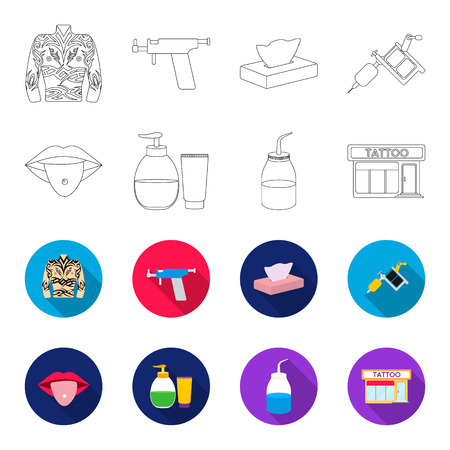 Piercing in tongue, gel, sallon. Tattoo set collection icons in outline,flat style vector symbol stock illustration web.