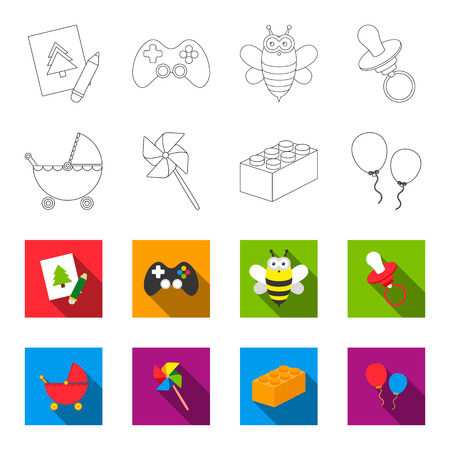 Stroller, windmill, lego, balloons.Toys set collection icons in outline,flat style vector symbol stock illustration web.
