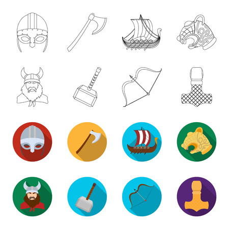 Viking in helmet with horns, mace, bow with arrow, treasure. Vikings set collection icons in outline,flat style vector symbol stock illustration web.