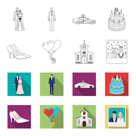Wedding and Attributes outline,flat icons in set collection for design.Newlyweds and Accessories vector symbol stock web illustration.