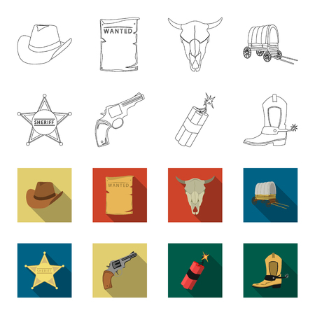 Star sheriff, Colt, dynamite, cowboy boot. Wild West set collection icons in outline,flat style vector symbol stock illustration web. Çizim