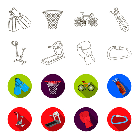 Exercise bike, treadmill, glove boxer, lock. Sport set collection icons in outline,flat style vector symbol stock illustration web. Illustration