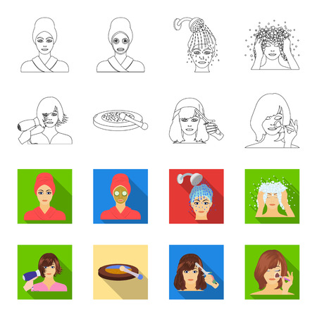 Salon, care, hygiene and other web icon in outline,flat style. Hands, hairdresser, beauty, icons in set collection. Vecteurs