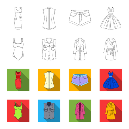 Women Clothing outline,flat icons in set collection for design.Clothing Varieties and Accessories vector symbol stock web illustration. Stock Photo