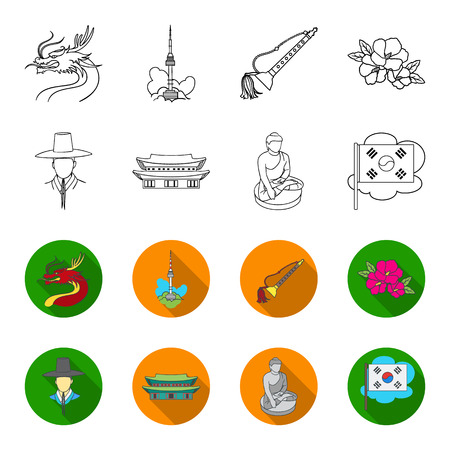 Korean in national headdress, Korean monastery, Buddha figurine, national flag. South Korea set collection icons in outline,flat style vector symbol stock illustration web.