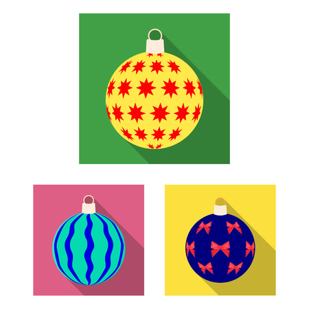 Balls for decoration flat icons in set collection for design.Christmas balls vector symbol stock web illustration. Illustration