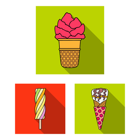 Different ice cream flat icons in set collection for design. Dessert and sweetness vector symbol stock web illustration. Illustration