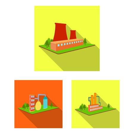 Factory and plant flat icons in set collection for design. Production and enterprise vector isometric symbol stock web illustration.