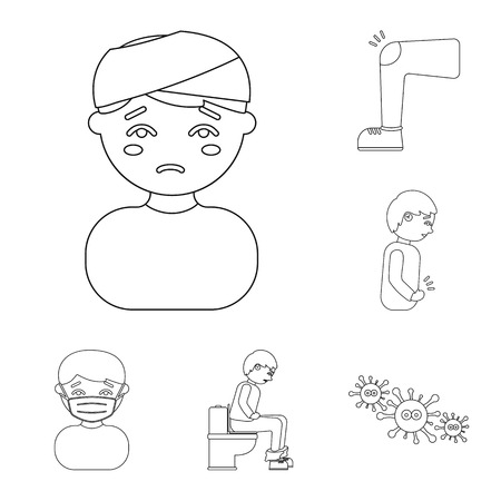 The sick man outline icons in set collection for design.Illness and treatment vector symbol stock web illustration.