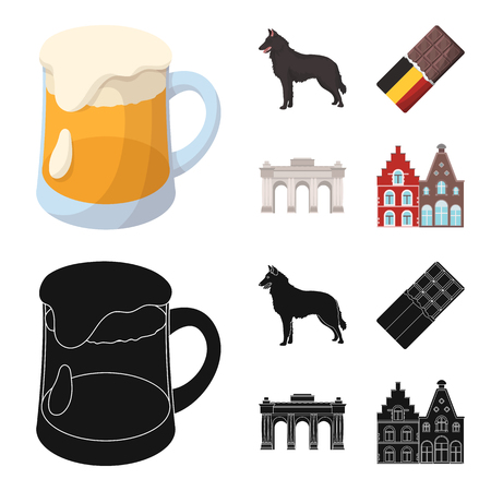 Chocolate, cathedral and other symbols of the country.Belgium set collection icons in cartoon,black style vector symbol stock illustration web. Illustration
