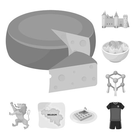 País Bélgica monocromo iconos de colección set de diseño.Viajes y atracciones Bélgica vector símbolo stock web ilustración.