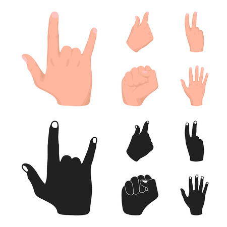 Open fist, victory, miser. Hand gesture set collection icons in cartoon,black style vector symbol stock illustration web.