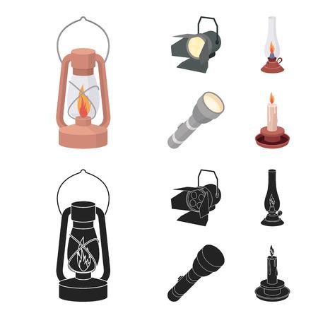Searchlight, kerosene lamp, candle, flashlight.Light source set collection icons in cartoon,black style vector symbol stock illustration web.