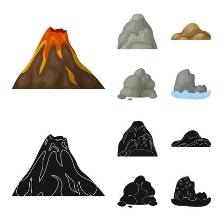 Keien, een ronde berg, rotsen in de zee. Verschillende bergen instellen collectie iconen in cartoon stijl vector symbool stock illustratie web.