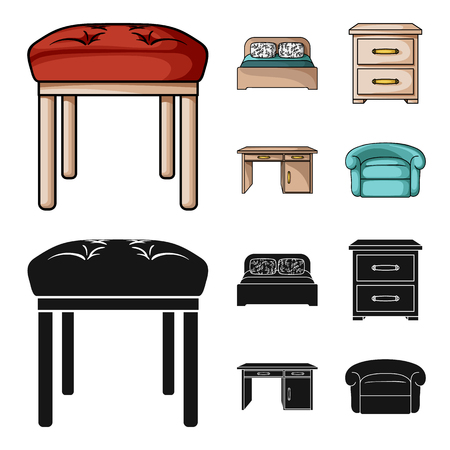 Interior, design, bed, bedroom .Furniture and home interiorset collection icons in cartoon,black style vector symbol stock illustration web. Stock Illustratie