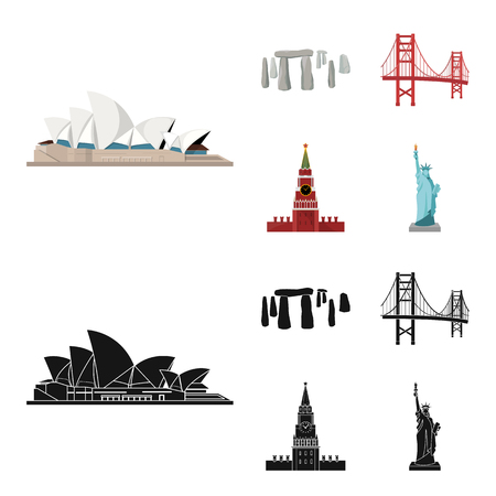 Sights of different countries cartoon,black icons in set collection for design. Famous building vector symbol stock web illustration.
