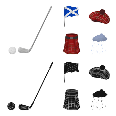 Flag, kilt, rainy weather, cap.Scotland country set collection icons in cartoon,black style vector symbol stock illustration web.