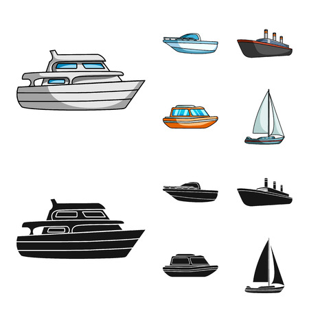 Protection boat, lifeboat, cargo steamer, sports yacht.Ships and water transport set collection icons in cartoon,black style vector symbol stock illustration web. Illustration