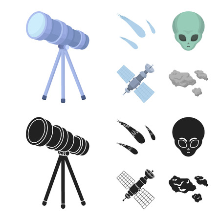 Asteroid, car, meteorite, space ship, station with solar batteries, the face of an alien. Space set collection icons in cartoon,black style vector symbol stock illustration web.