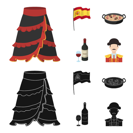 Flag with the coat of arms of Spain, a national dish with rice and tomatoes, a bottle of wine with a glass, a bullfighter, a matador. Spain country set collection icons in cartoon,black style vector symbol stock illustration web.