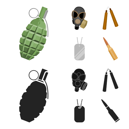 Gas mask, nunchak, ammunition, soldier token. Weapons set collection icons in cartoon,black style vector symbol stock illustration web.