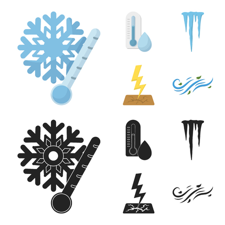 Humidity, icicles, thunderbolt, windy weather. Weather set collection icons in cartoon,black style vector symbol stock illustration web.