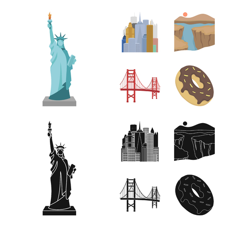 A megacity, a grand canyon, a golden gate bridge,donut with chocolate. The US country set collection icons in cartoon,black style vector symbol stock illustration web. Illustration