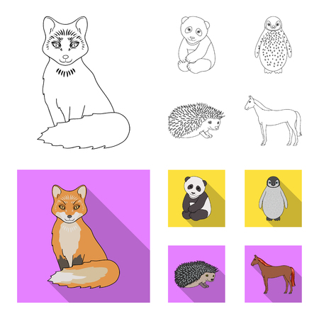 Fox, panda, hedgehog, penguin and other animals.Animals set collection icons in outline,flat style vector symbol stock illustration web. Ilustracja