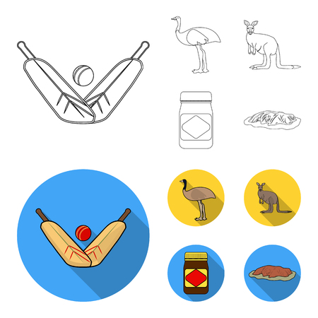 A game of cricket, an emu ostrich, a kangaroo, a popular food.Australia set collection icons in outline,flat style vector symbol stock illustration web. Illustration
