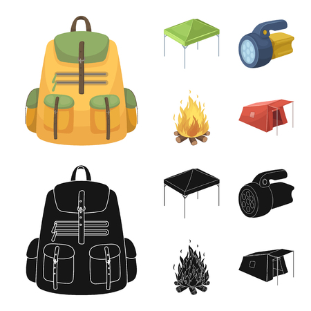 Awning, fire and other tourist equipment.Tent set collection icons in cartoon,black style vector symbol stock illustration web. Illustration