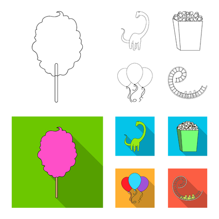 Sweet cotton wool on a stick, a toy dragon, popcorn in a box, colorful balloons on a string. Amusement park set collection icons in outline,flat style vector symbol stock illustration web.