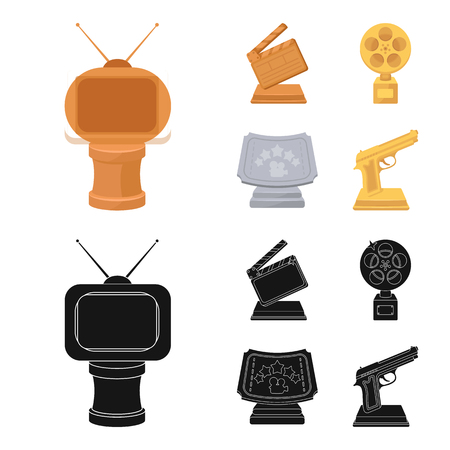 Gold pistol, silver prize for the best supporting role and other prizes.Movie awards set collection icons in cartoon,black style vector symbol stock illustration web.