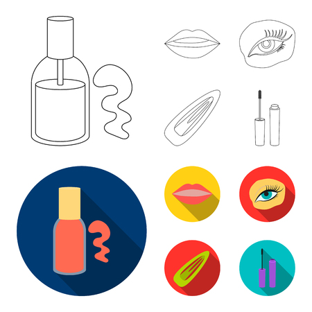 Nail polish, tinted eyelashes, lips with lipstick, hair clip.Makeup set collection icons in outline,flat style vector symbol stock illustration web.