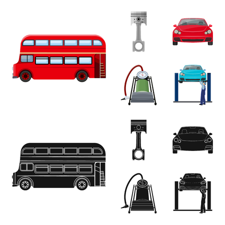 Car on lift, piston and pump cartoon,black icons in set collection for design.Car maintenance station vector symbol stock illustration web. Vectores