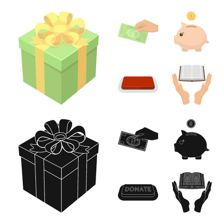 Hand with money for poshestvovaniya, a piggy bank for charity, a button with an inscription, a book for the blind in their hands. Charity and donation set collection icons in cartoon,black style vector symbol stock illustration web.