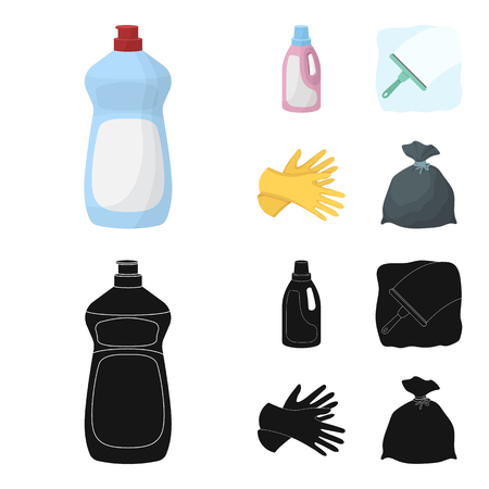 Gel for washing in a pink bottle, yellow gloves for cleaning, a brush for glass, a black bag for garbage or waste. Cleaning set collection icons in cartoon,black style vector symbol stock illustration web. 矢量图像