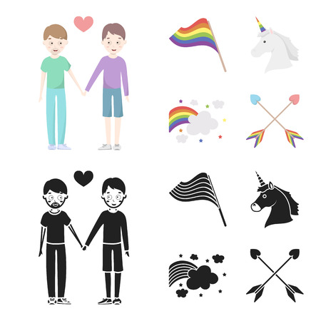 Flag, unicorn symbol, arrows with heart.Gay set collection icons in cartoon,black style vector symbol stock illustration web. Ilustração