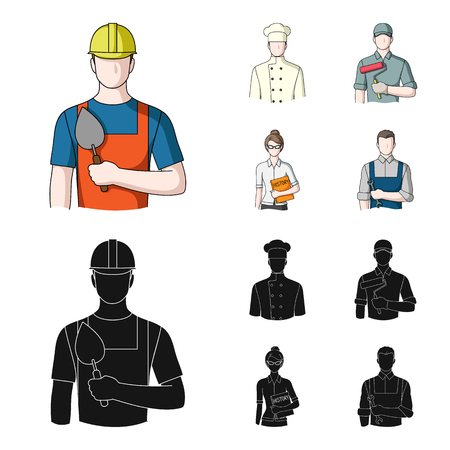 Cook, painter, teacher, locksmith mechanic.Profession set collection icons in cartoon,black style vector symbol stock illustration web.