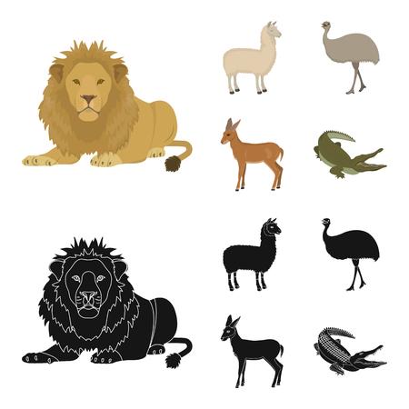 lama, ostrich emu, young antelope, animal crocodile. Wild animal, bird, reptile set collection icons in cartoon,black style vector symbol stock illustration web.