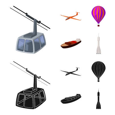A drone, a glider, a balloon, a transportation barge, a space rocket transport modes. Transport set collection icons in cartoon,black style vector symbol stock illustration web.