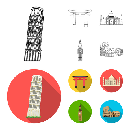 Sights of different countries outline,flat icons in set collection for design. Famous building vector symbol stock web illustration.