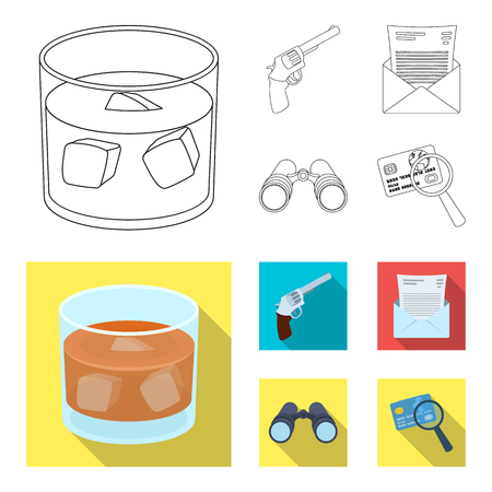 A glass of whiskey, a gun, binoculars, a letter in an envelope.Detective set collection icons in outline,flat style vector symbol stock illustration web.
