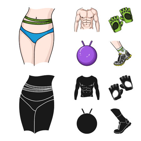 Men torso, gymnastic gloves, jumping ball, sneakers. Fitnes set collection icons in cartoon,black style vector symbol stock illustration web. Zdjęcie Seryjne - 102738195
