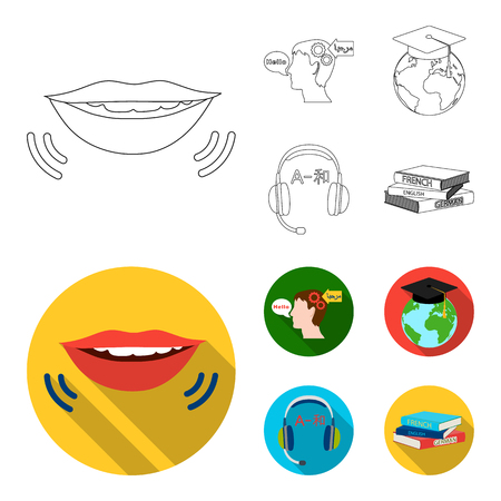 The mouth of the person speaking, the person head translating the text, the globe with the master cap, the headphones with the translation. Interpreter and translator set collection icons in outline,flat style vector symbol stock illustration web.