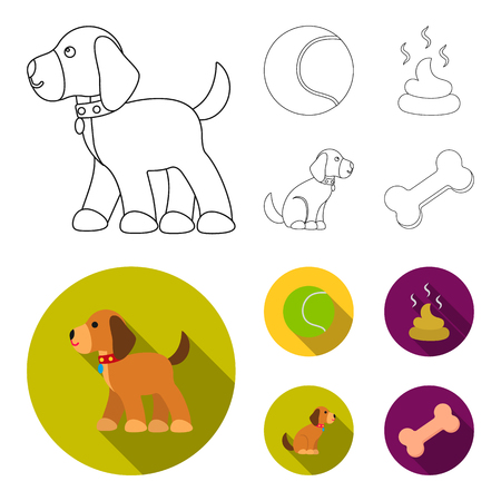 Dog sitting, dog standing, tennis ball, feces. Dog set collection icons in outline,flat style vector symbol stock illustration web. Illustration