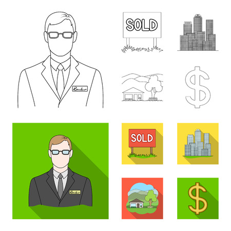 Employee of the agency, sold, metropolis, country house. Realtor set collection icons in outline,flat style vector symbol stock illustration web.