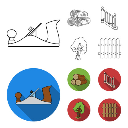 Logs in a stack, plane, tree, ladder with handrails. Sawmill and timber set collection icons in outline,flat style vector symbol stock illustration web.