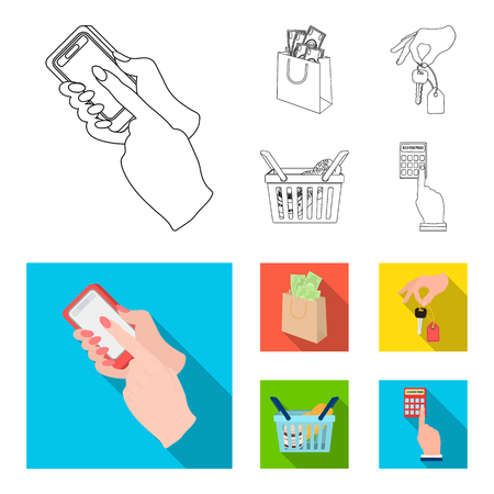 Mobile phone, a package with money and other web icon in outline,flat style. a key in hand, a basket with food icons in set collection.