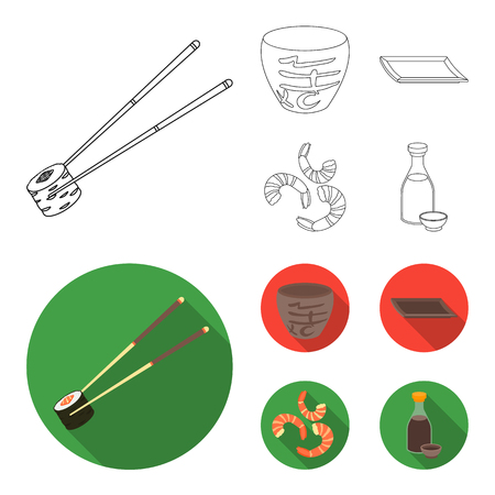 Sticks, shrimp, substrate, bowl.Sushi set collection icons in outline,flat style vector symbol stock illustration web.